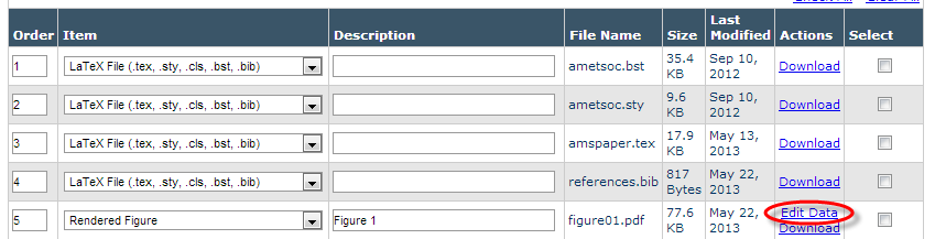 Editorial Manager screenshot of the Attach Files page showing the Edit Data option for rendered figures.
