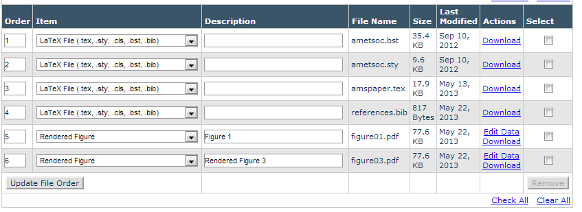 Editorial Manager screenshot of the Attach Files page showing a list of individually uploaded files.
