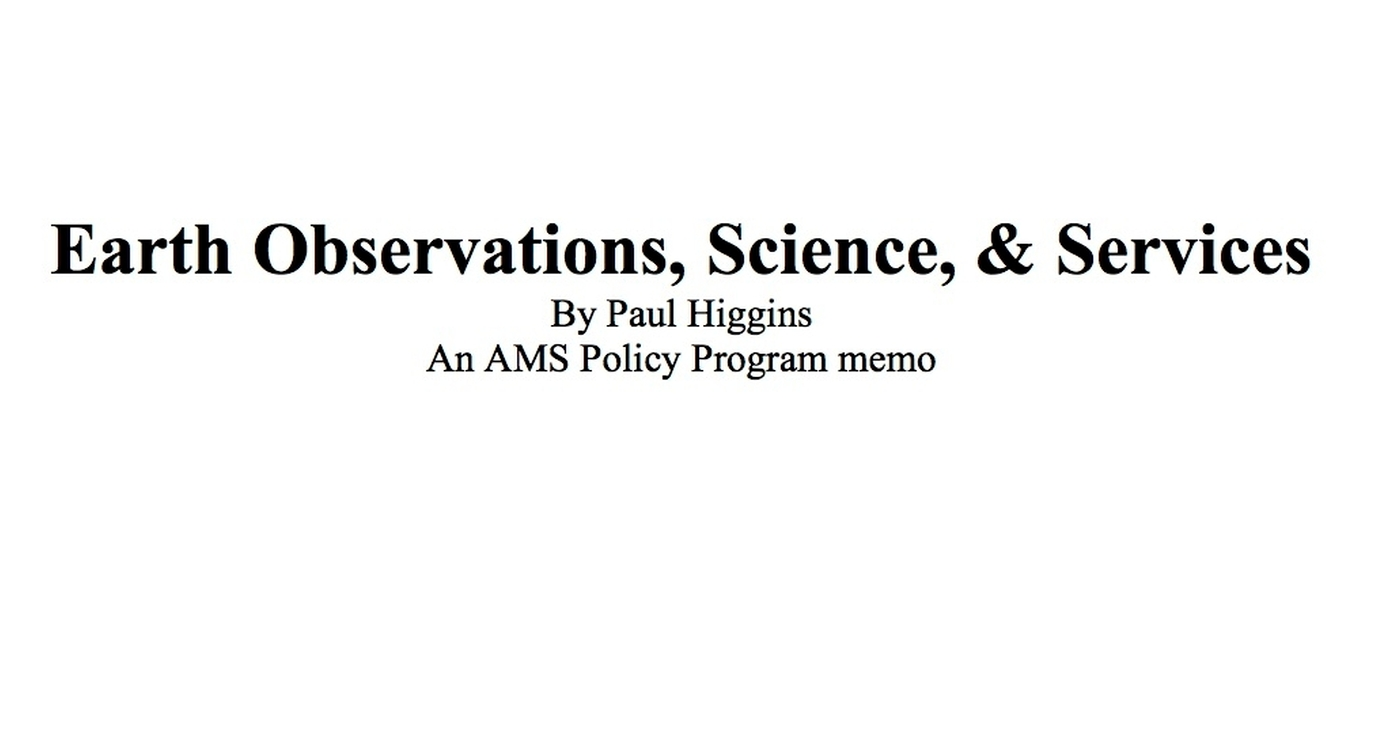 Earth Observations, Science, and Services