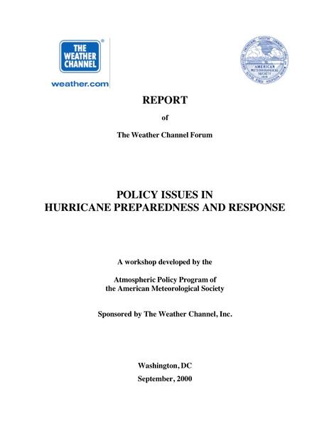 Hurricane Preparation Response American Meteorological Society