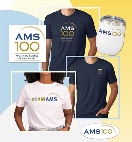 Centennial merchandise includes navy blue and white tshirts, travel mugs, and more