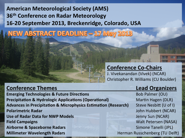 2013 AMS Radar Conference - Scientific and Technological Activities